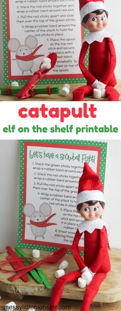 Marshmallow catapult. A free elf on the shelf printable to make a marshmallow launcher. Easy elf on the shelf ideas.