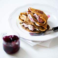 Coffee crepes with ricotta cheese and cherries in syrup from @Marta Draper Greber