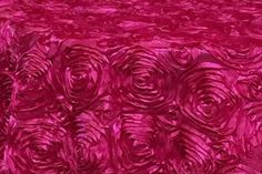 Fuschia Satin 3D Roses Rosette Fabric Sold By The Yard by smallsproutsbaby on Etsy