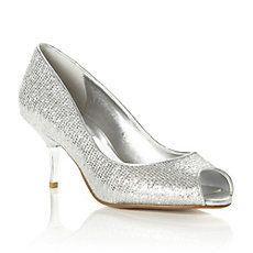DECOR - Metal Heel Lurex Glitter Peep Toe Court Shoe