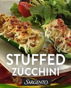 Try a new spring recipe, like our colorful stuffed zucchini dish. Fill zucchini boats with a cheese, sausage, onion, zucchini and breadcrumb mixture. Bake for 20 mins.