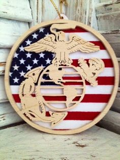 Marine Corps ornament measuring approx. 4 inches diameter. Available at https://www.facebook.com/wallyswoodcrafts