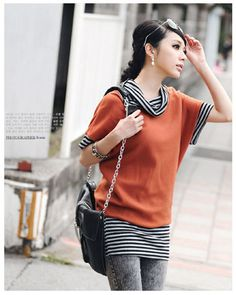 Stripy Short Batwing Sleeves Shirt Orange on BuyTrends.com, only price $9.53