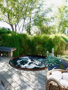 Imagine having both a beautiful hot tub and patio in your backyard. Check out ths hot tub patio to make your outdoor space looks more inviting! Hot Tub Garden, Hot Tub Backyard, Small Backyard Pools, Backyard Landscaping, Landscaping Ideas, Backyard Designs, Small Pools, Pool Decks, Pool Designs