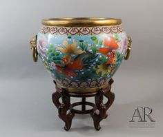 fish bowls with stands | 185: Chinese Cloisonne Fish Bowl w/ Stand