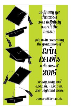 Cap Stripe Graduation Invitation Images Party Invitations Announcements Graphic
