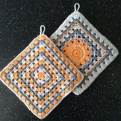 Crochet Earrings Pattern, Crochet Motif Patterns, Granny Square Crochet Pattern, Crochet Stitches, Crochet Hot Pads, Diy Crochet And Knitting, Crochet Potholders, Crochet Dishcloths, Granny Square Häkelanleitung