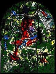 Israel - Jerusalem: The Tribe Gad ~ Marc Chagall ~ The twelve windows were created by Marc Chagall for the Synagogue of the Hadassah hospital in Jerusalem. They symbolize the twelve sons of Jacob, which made the twelve tribes of Israel. Marc Chagall, Jewish Art, Religious Art, Chagall Windows, Sons Of Jacob, Fauvism, French Artists, Stained Glass Windows, Great Artists
