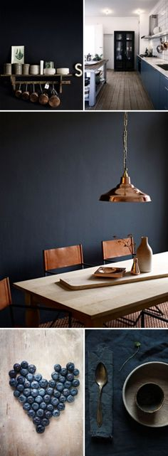Love the navy blue decor with copper accents @istandarddesign
