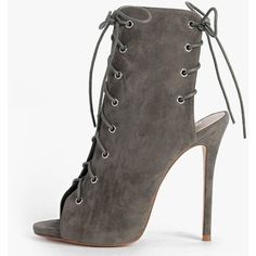 Boohoo Faye Lace Up Peeptoe Shoe Boot ($64) ❤ liked on Polyvore featuring shoes, boots, ankle booties, khaki, lace-up boots, lace up booties, high heel mules, faux suede lace-up booties and chunky platform boots