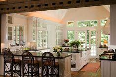 Traditional Kitchen with Glass panel, European Cabinets, Kitchen island, Flat panel cabinets, Custom hood, Hardwood floors