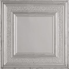 Armstrong Ceilings (Common: x Actual: x Metallaire Hammered Border Chrome Metal/Tin Drop Panel Ceiling Tiles at Lowe's. Metallaire panels are made from real metal and are coated to protect from rust. Metallaire can be installed in 2 ways – surface mount x Faux Tin Ceiling Tiles, Tin Tiles, Drop Ceiling Panels, Suspended Ceiling Systems, Ceiling Texture, Ceiling Treatments, Wall Molding, Metal Texture, Ceiling Decor