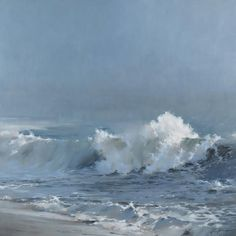 "Richard Johnson ""Endless Journey"" oil on canvas. Even though a gentle sea scape the tilted base to the imparts a drive and rhythm of beauty. Landscape Art, Landscape Paintings, Guache, Art Sculpture, Sea Art, Seascape Paintings, Ocean Waves, Art Oil, Fine Art"