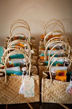 Wedding Gifts Thinking of having a destination wedding? Check out these destination wedding welcome bag ideas! - Make your guests feel at-home when they travel to your wedding with gift bags. Here are some fun ideas for destination wedding welcome bags! Wedding Gift Bags, Beach Wedding Favors, Unique Wedding Favors, Trendy Wedding, Beach Weddings, Bridesmaid Gift Bags, Rustic Weddings, Beach Party Favors, Thoughtful Wedding Gifts