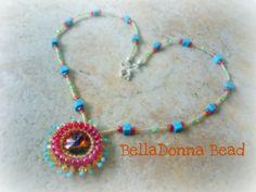 Groovy Sunburst Rivoli Necklace by BellaDonnaBead on Etsy, $22.00
