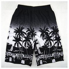 Hanxue Men's Summer Palm Tree Hawaiian Board Shorts Black...