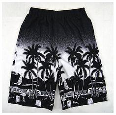 Hanxue Men's Summer Palm Tree Hawaiian Board Shorts Black...