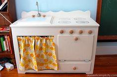 DIY dresser play kitchen set