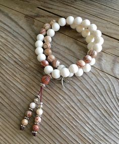 Moksha Double Bracelet- Inspires self-love and self-confidence. Attracts success. White Coral and Brazilian Crazy Lace Agate gemstones.