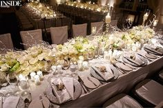"""Inside Weddings on Instagram: """"Create a family atmosphere by seating guests at one long table. More tips & ideas up on our website now! #InsideWeddings #WeddingReception #ReceptionDecor #IntimateWedding #WeddingStyle #WeddingDecor #WeddingIdeas #TableDecor #TableDesign #WeddingTable #WeddingTableDecor #InstaWed #InstaWedding (: Cooper Carras Photography, Consulting: @levinefoxevents, Invitations & Calligraphy: @lehrandblack)"""""""