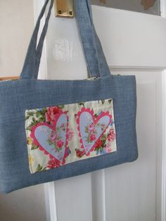Small Handmade Handbag Purse Denim Look by Ladydarinefinecrafts