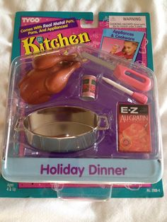 New Kitchen Littles Tyco Holiday Dinner Turkey Barbie Size Play Food Vintage #TYCO