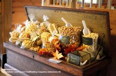 Popcorn station from exclamations Catering and TriadWeddings magazine