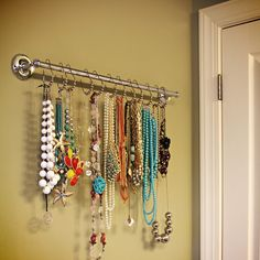 Finally a way I can organize my necklaces, shower curtain hooks :)