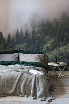 Rest easy amongst the treetops with this breathtakingly beautiful forest wallpaper Intense hues of emerald green contrast the thick mist giving your bedroom spaces depth. Green Bedroom Design, Bedroom Green, Cozy Bedroom, Master Bedroom, Forest Bedroom, Forest Theme Bedrooms, Emerald Bedroom, Bedroom Bed, Bedroom Designs