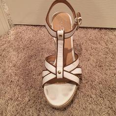 Aldo heels Worn once - white and brown with hemp platform Shoes Heels