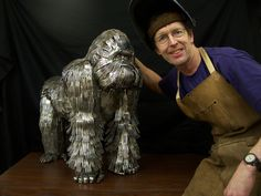 Artist Gary Hovey welded his first flatware animal sculpture back in 2004. | These Animal Sculptures Made Entirely Out Of Cutlery Will Amaze You