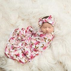 Organic baby girl swaddle in pink roses. Floral print swaddle is the cutest most vibrant addition to her closet. organic bamboo viscose for your babies delicate skin. Matching headband and beanie baby swaddle set. Spearmint Baby, Baby Girl Blankets, Swaddling Blankets, Baby Girl Fashion, Kids Fashion, Baby Boutique, Newborn Photos, Baby Fever, Baby Headbands