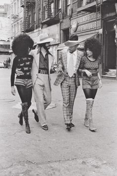 "Two Afro couples walk the streets of NYC; part of the ""Harlem Couples"" series by Anthony Barboza, C.1970s - Imgur"