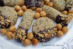 Gourmet Girl Cooks: Chocolate Dipped Hazelnut Cookies - A Decadent Little Cookie Loaded w/ Hazelnuts & Drenched in Dark Chocolate