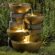 Might buy this!!! Jeco Pots Water Outdoor Fountain with Led Light - $159.99 @hayneedle