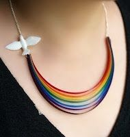Gorgeous ribbon rainbow necklace! It even has a little raindrop hanging from the back clasp!
