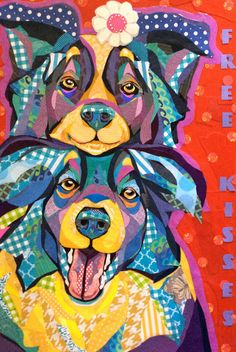 """""""Free Kisses"""" by Laura Yager. Cut paper collage on 24""""x36"""" deep cradled panel. Dog artwork, border collie dog artwork, paper art"""