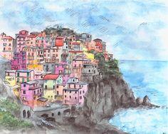 Italy painting. Liguria painting. Cinque Terra. Italy by madareli