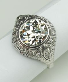 3.10 Carat Diamond Edwardian Engagement Ring from greenhilljewelers at rubylane.com