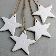 Love, Joy, Hope, Peace Christmas Stars - Set of 4 - Decoration, Ornament, Tags | Red Punch Buggy | madeit.com.au