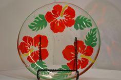 Hibiscus Flower Fused Glass  Bowl  Orange / Jade by Purpleslug, $120.00