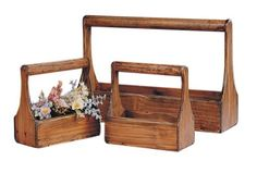 old toolbox style Wooden Planter carrier plant Baskets - Set of 3 - Great for Rustic Wedding - http://rustic-touch.com/old-toolbox-style-wooden-planter-carrier-plant-baskets-set-of-3-great-for-rustic-wedding/