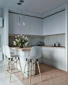 45 Inspiring Modern Scandinavian Kitchen Design Ideas Home Design Ideas Home Design, Luxury Kitchen Design, Kitchen Room Design, Home Decor Kitchen, Interior Design Kitchen, Kitchen Furniture, Home Kitchens, Kitchen Designs, Luxury Kitchens