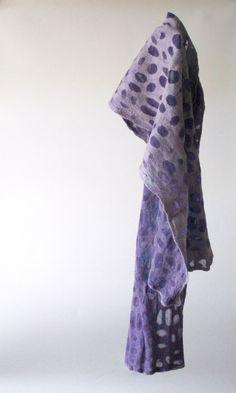 """mitosis 3"" Nature is calling, this shawl is whispering. 100% soft merinowool and chiffonsilk. 31x140cm, €100. http://atelierkniedelius.exto.nl/kunstwerk/169067940_next.html#.VQwuFNh0w5s"
