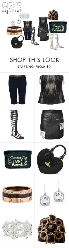 """""""Girl's Night Out :Summer"""" by michelle858 ❤ liked on Polyvore featuring George, Roberto Cavalli, GC Shoes, McQ by Alexander McQueen, Stuart Weitzman, Vivienne Westwood, Cartier, Anne Sisteron, M&Co and Chanel"""