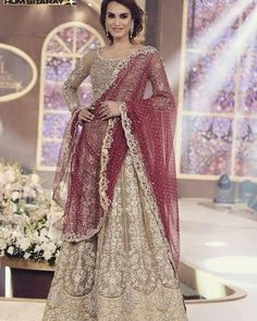 Lehenga Choli- Gold and Maroon, Zainab Chottani Replica, 3 Pc Stitched- Indian, Pakistani, Bollywood Wedding Formal by KaamdaniCouture on Etsy