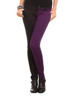 Royal Bones Purple And Black Split Leg Skinny Jeans... kinda matches my crazy personality.