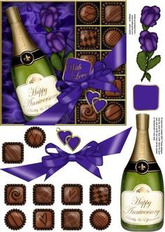 Anniversary Champers Chocs n Roses Quick Card 3D Decoupage on Craftsuprint - Add To Basket!