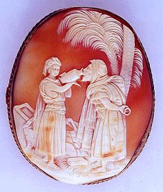 Oasis scene antique cameo.