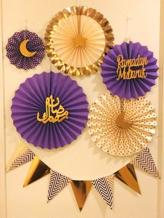Ramadan Mubarak Decorations - Purple and Gold Paper Fans Set with Ramadan CutOuts - Happy Eid, Eid Celebration, Eid Mubarak, Islamic Decor Ramadan Decorations, Graduation Decorations, Eid Mubarak, Eid Crafts, Paper Crafts, Decoraciones Ramadan, Kitchen Ornaments, Islamic Decor, Fiesta Theme Party